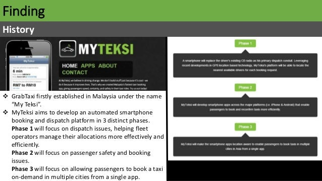 """Finding History  GrabTaxi firstly established in Malaysia under the name """"My Teksi"""".  MyTeksi aims to develop an automat..."""