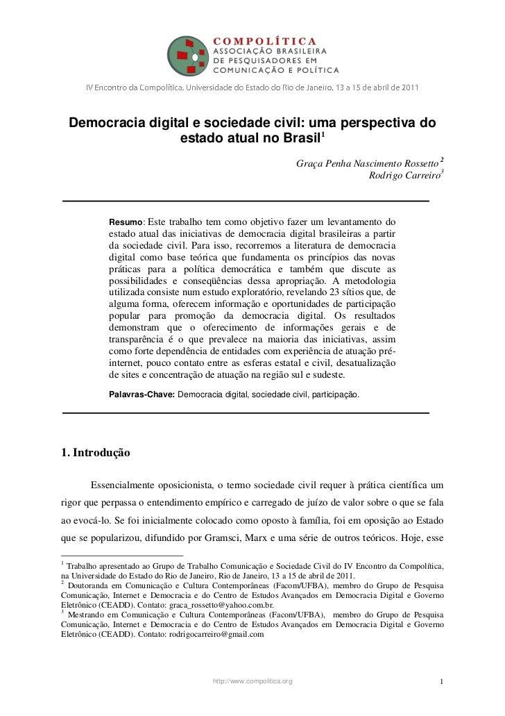 Democracia digital e sociedade civil: uma perspectiva do                    estado atual no Brasil1                       ...