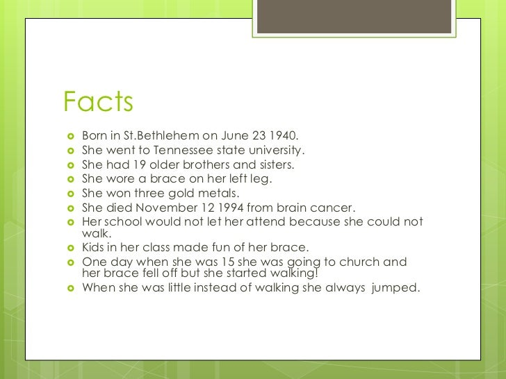 Fun Facts About Wilma Rudolph For Kids