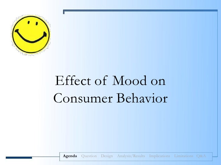 Effect of Mood onConsumer Behavior Agenda   Question Design Analysis/Results Implications Limitations Q&A