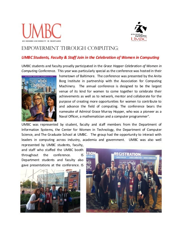 Empowerment through Computing:UMBC Students, Faculty & Staff Join in the Celebration of Women in ComputingUMBC students an...