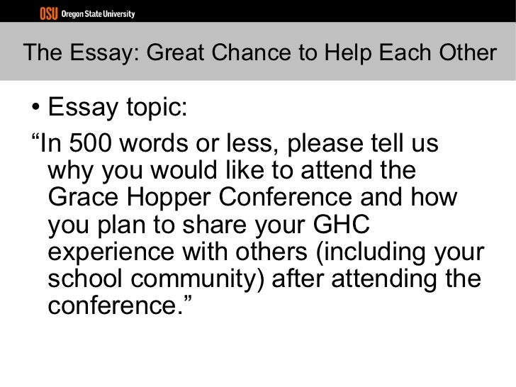 Grace hopper conference essay