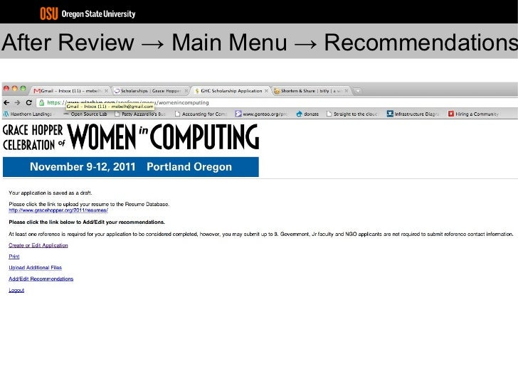 after review main menu recommendations - Grace Hopper Resume Database