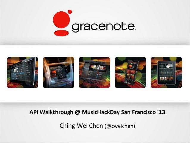 API Walkthrough @ MusicHackDay San Francisco 13          Ching-Wei Chen (@cweichen)