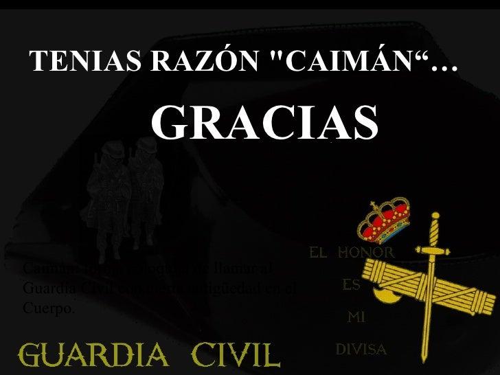 """TENIAS RAZÓN """"CAIMÁN""""… GRACIAS   Caimán: forma coloquial de llamar al Guardia Civil con cierta antigüedad en el Cuerp..."""