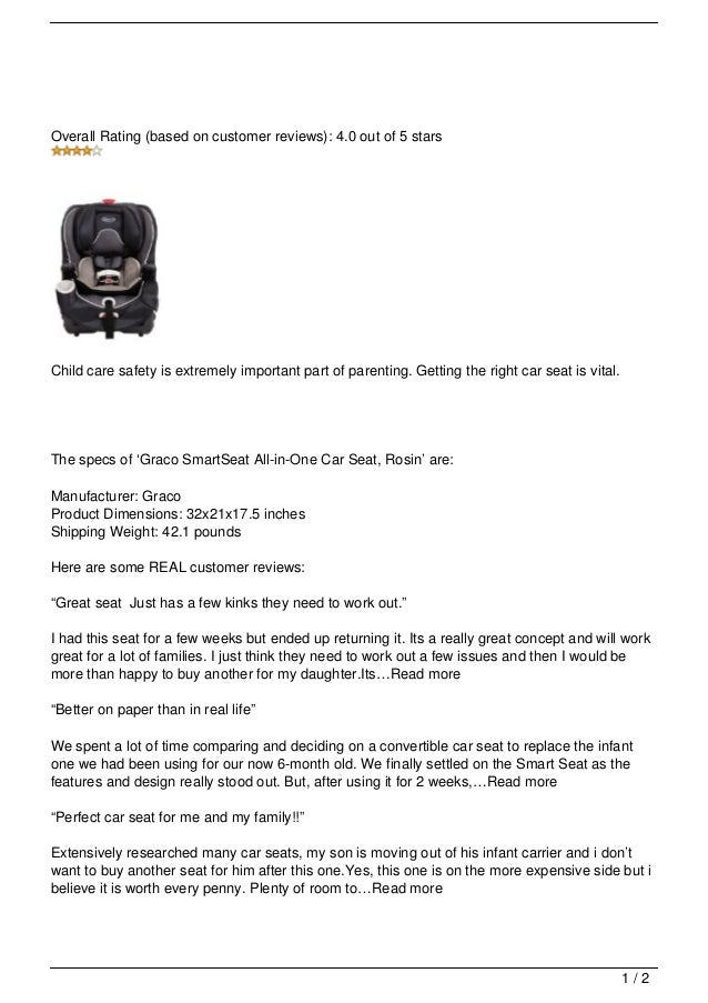 Graco SmartSeat All In One Car Seat Overall Rating Based On Customer Reviews 40 Out Of 5 StarsChild Care Safety