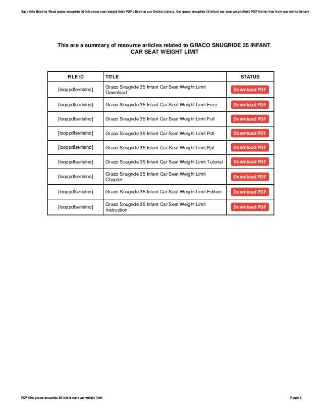 Graco Snugride 35 Infant Car Seat Weight Limit