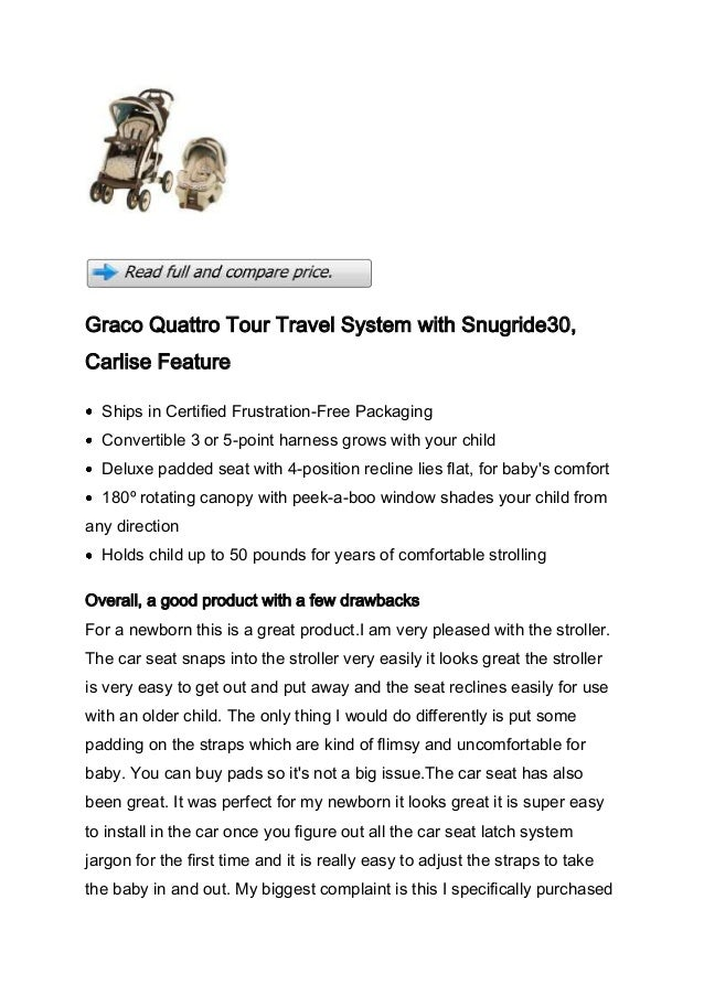 Graco Quattro Tour Travel System with Snugride30,Carlise Feature  Ships in Certified Frustration-Free Packaging  Convertib...
