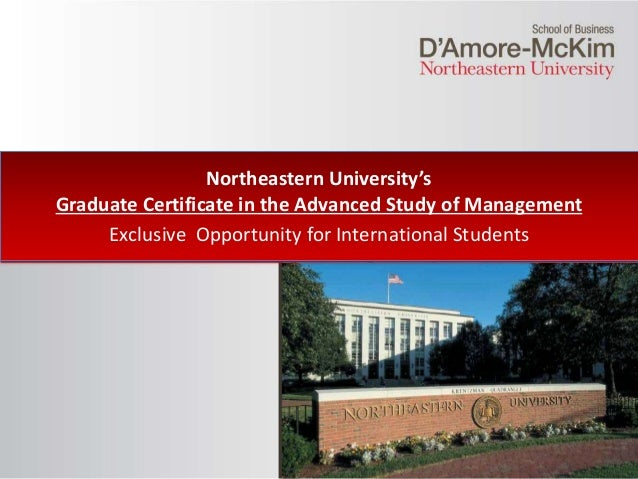 Click to edit Master title style Northeastern University's Graduate Certificate in the Advanced Study of Management Exclus...