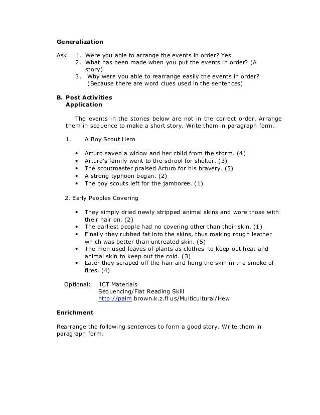Grade 6englishreadingarrangingasetofeventsinalogicalorder – Generalization Worksheets