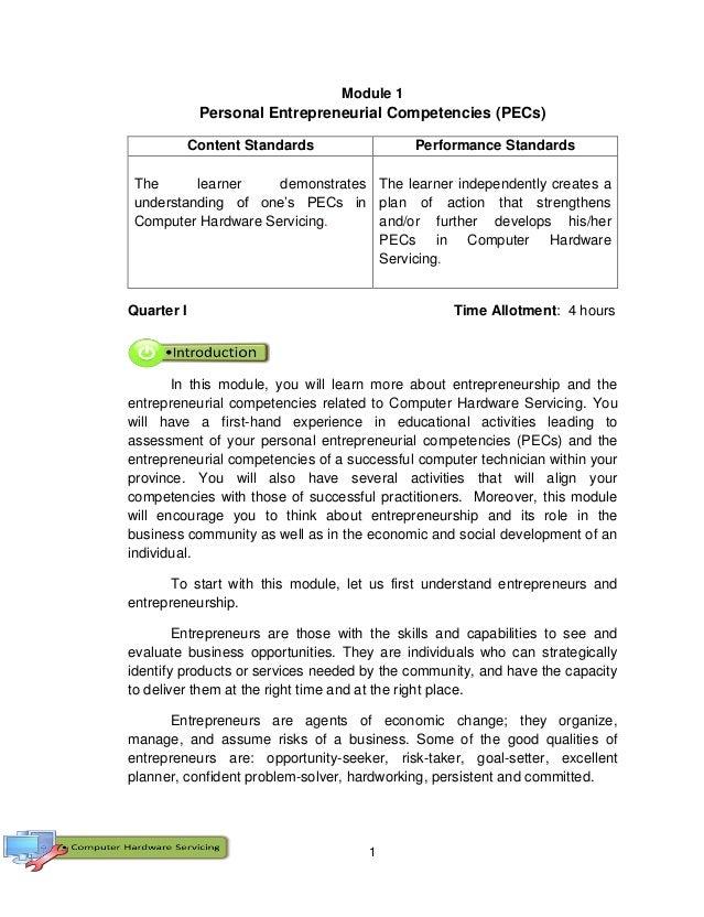 1 Module 1 Personal Entrepreneurial Competencies (PECs) Content Standards Performance Standards The learner demonstrates u...