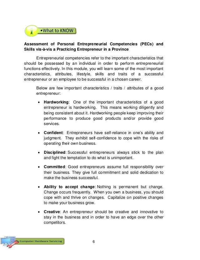 6 Assessment of Personal Entrepreneurial Competencies (PECs) and Skills vis-à-vis a Practicing Entrepreneur in a Province ...