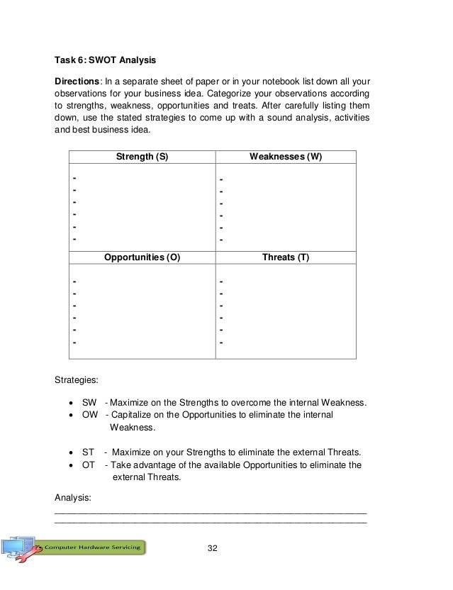 32 Task 6: SWOT Analysis Directions: In a separate sheet of paper or in your notebook list down all your observations for ...
