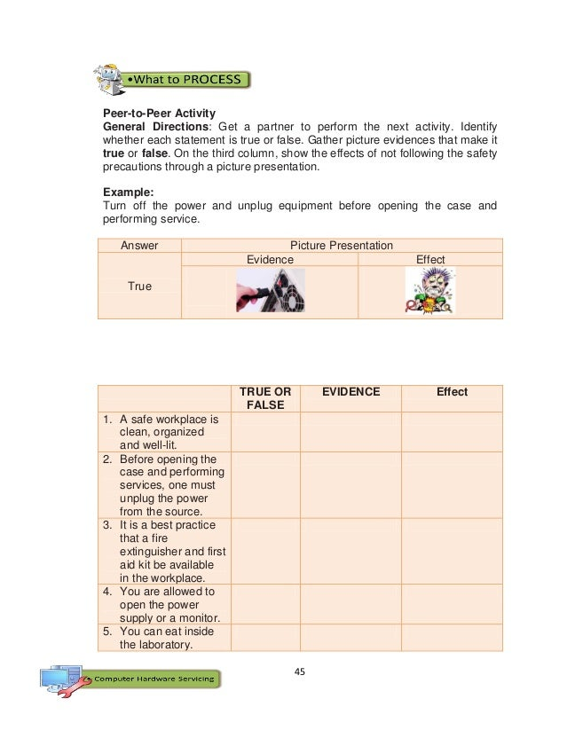 45 Peer-to-Peer Activity General Directions: Get a partner to perform the next activity. Identify whether each statement i...