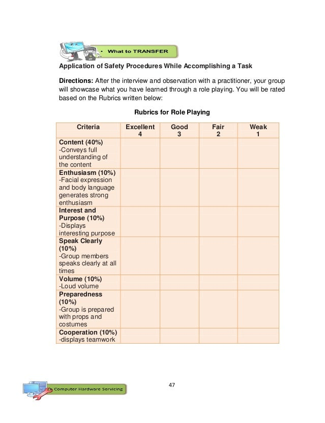 47 Application of Safety Procedures While Accomplishing a Task Directions: After the interview and observation with a prac...