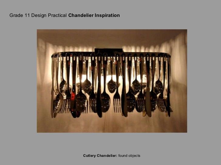 Grade 11 Design Practical  Chandelier Inspiration Cutlery Chandelier:  found objects
