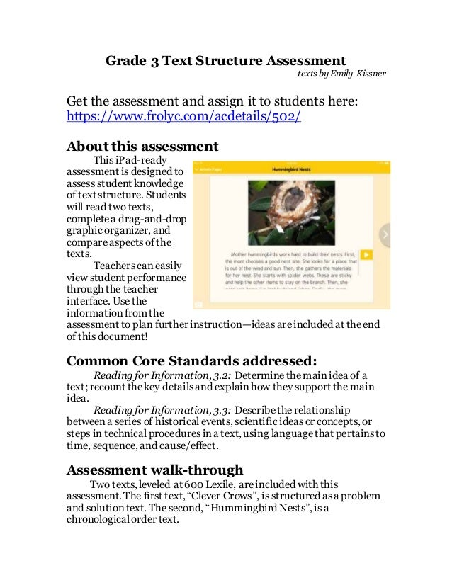 Grade 3 Text Structure Assessment texts by Emily Kissner Get the assessment and assign it to students here: https://www.fr...