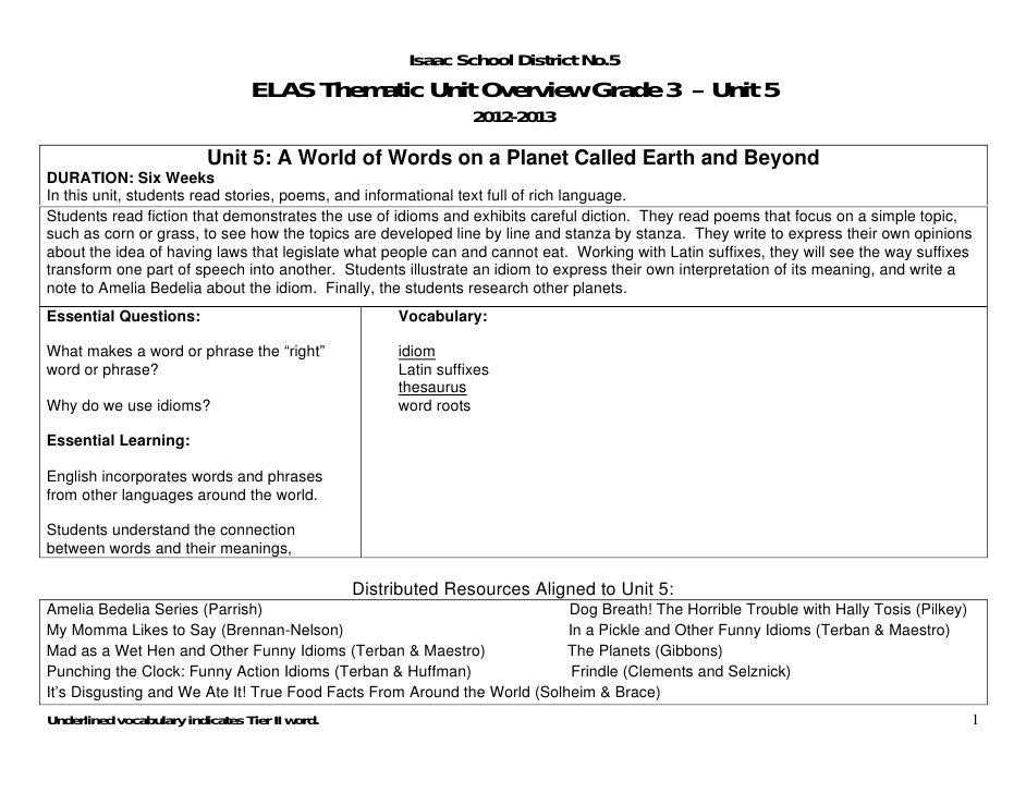 Isaac School District No.5                                 ELAS Thematic Unit Overview Grade 3 – Unit 5                   ...