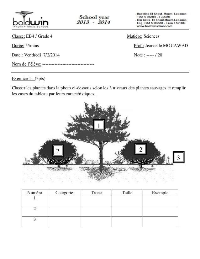 Classe: EB4 / Grade 4 Matière: Sciences Durée: 55mins Prof : Jeancelle MOUAWAD Date : Vendredi 7/2/2014 Note : ----- / 20 ...