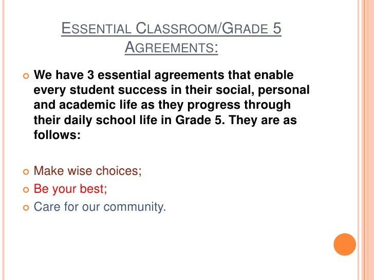 Grade 5 Classroom And Hallway Essential Agreements Q1 W2