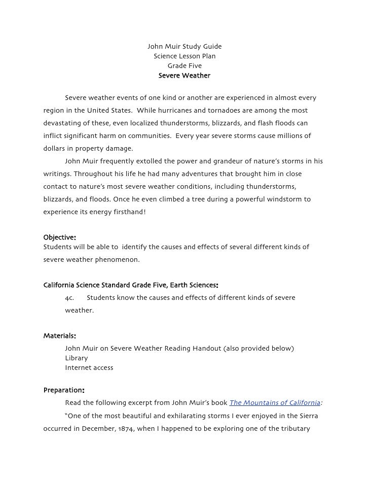 severe weather grade five science lesson plan john muir