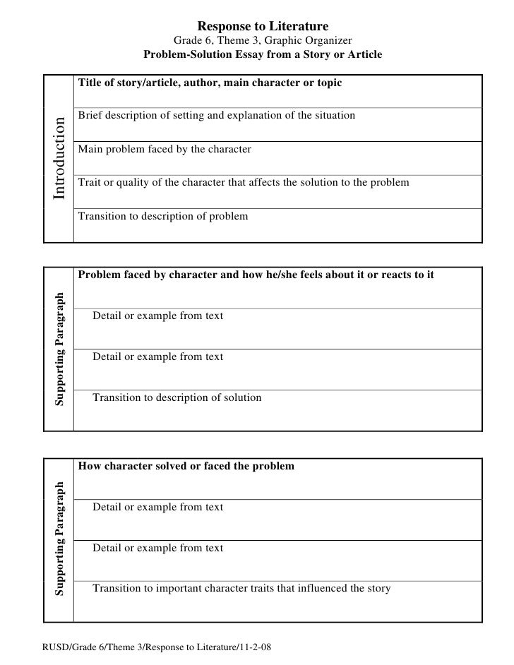 problem solution essay organizer response to literature
