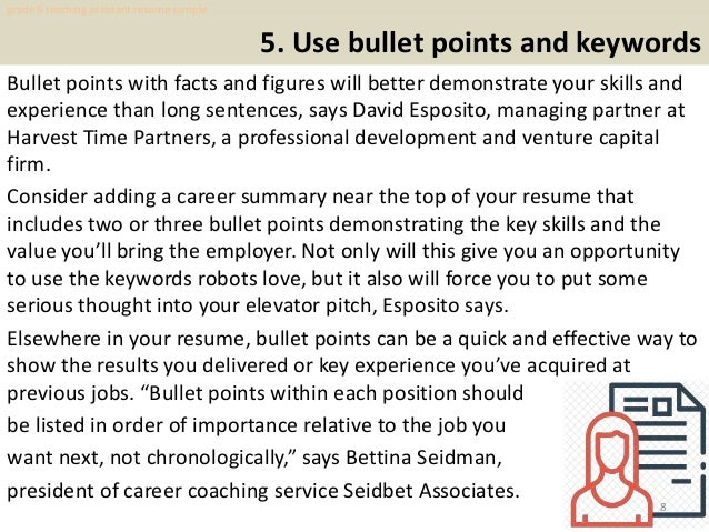 Teaching Assistant Resume Sample 8 5 Use Bullet Points