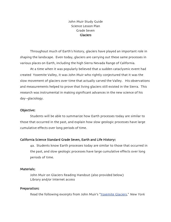 John Muir Study Guide                                   Science Lesson Plan                                       Grade Se...