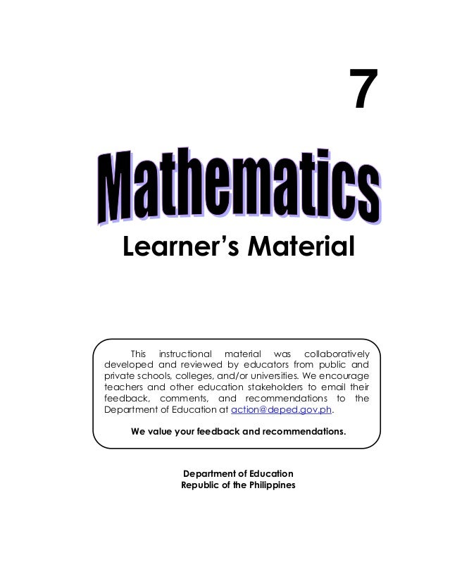 Learner's Material Department of Education Republic of the Philippines 7 This instructional material was collaboratively d...