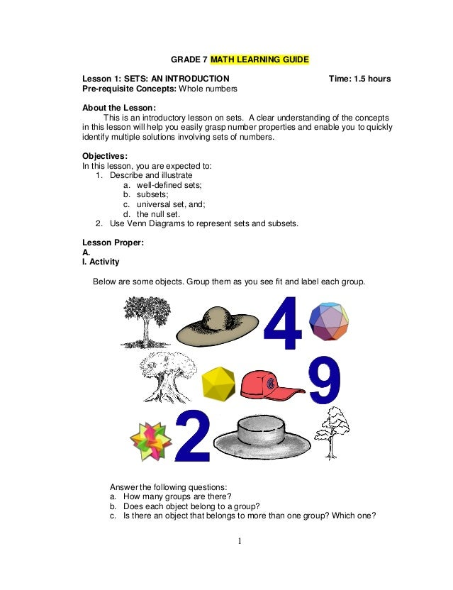 Grade 7 Learning Materials In Math