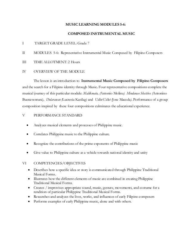 MUSIC LEARNING MODULES 5-6: COMPOSED INSTRUMENTAL MUSIC I TARGET GRADE LEVEL: Grade 7 II MODULES 5-6: Representative Instr...