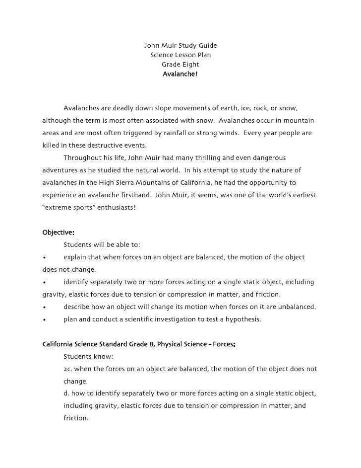 John Muir Study Guide                                     Science Lesson Plan                                         Grad...
