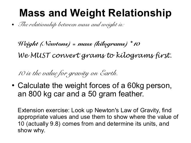 relationship between mass force and weight