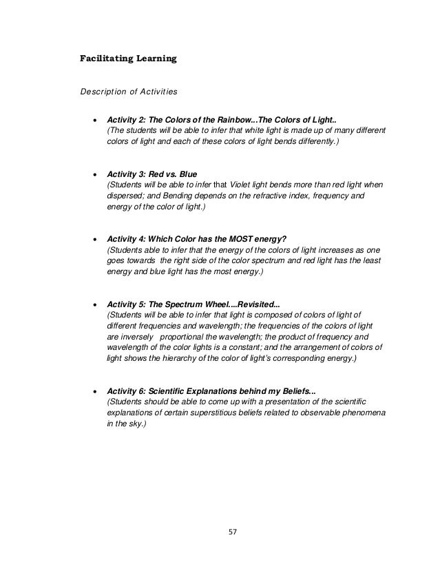 57 Facilitating Learning Description of Activities  Activity 2: The Colors of the Rainbow...The Colors of Light.. (The st...