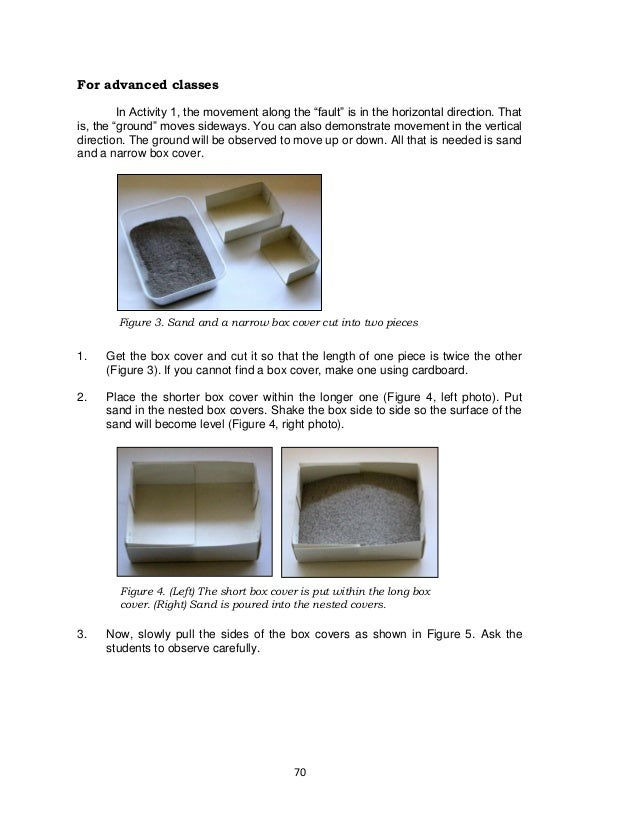 70 Figure 4. (Left) The short box cover is put within the long box cover. (Right) Sand is poured into the nested covers. F...