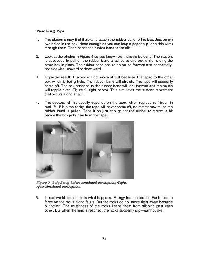 73 Figure 9. (Left) Setup before simulated earthquake (Right) After simulated earthquake. Teaching Tips 1. The students ma...