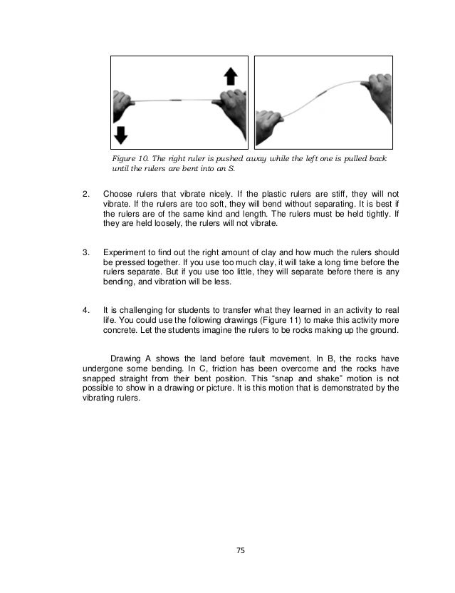 75 Figure 10. The right ruler is pushed away while the left one is pulled back until the rulers are bent into an S. 2. Cho...