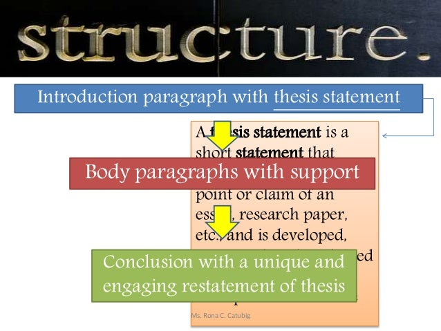 A thesis statement is a short statement that summarizes the main point or claim of an essay, research paper, etc., and is ...