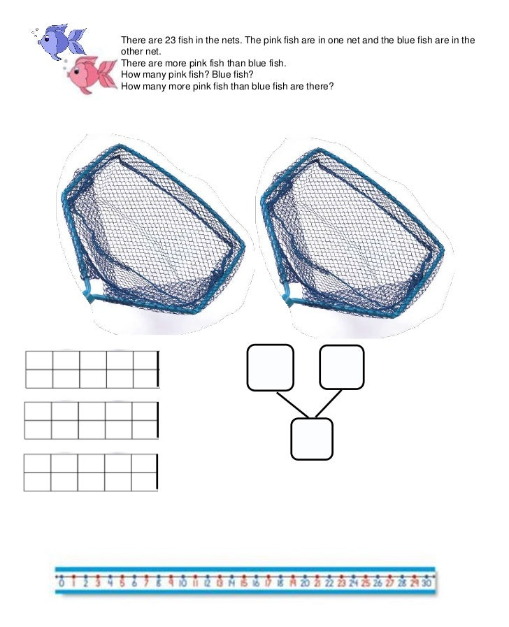 There are 23 fish in the nets. The pink fish are in one net and the blue fish are in the other net.<br />There are more pi...