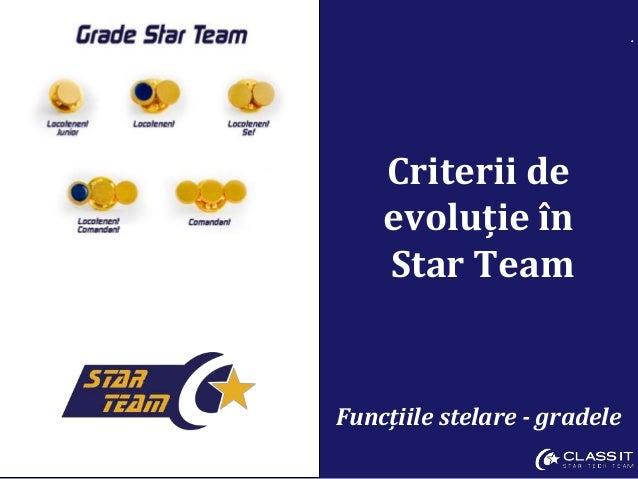 . Criterii de evoluție în Star Team Funcțiile stelare - gradele
