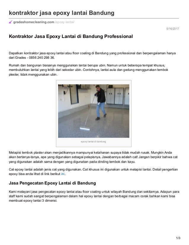 5/16/2017 kontraktor jasa epoxy lantai Bandung gradeshomecleaning.com /epoxy-lantai/ Kontraktor Jasa Epoxy Lantai di Bandu...