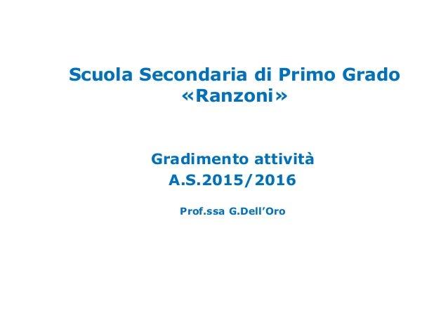 Scuola Secondaria di Primo Grado «Ranzoni» Gradimento attività A.S.2015/2016 Prof.ssa G.Dell'Oro