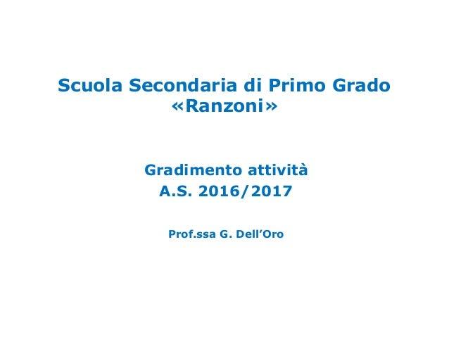 Scuola Secondaria di Primo Grado «Ranzoni» Gradimento attività A.S. 2016/2017 Prof.ssa G. Dell'Oro