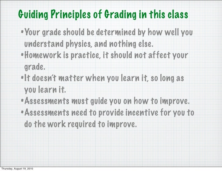 Guiding Principles of Grading in this class                • Your grade should be determined by how well you              ...