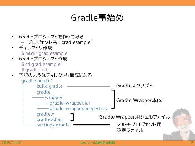 Gradle事始め • Gradleプロジェクトを作ってみる – プロジェクト名:gradlesample1 • ディレクトリ作成 $ mkdir gradlesample1 • Gradleプロジェクト作成 $ cd gradlesample...