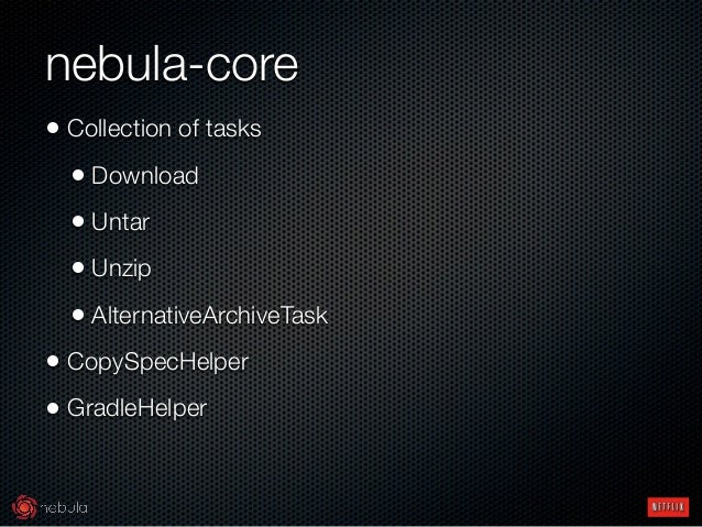 nebula-core • Collection of tasks • Download • Untar • Unzip • AlternativeArchiveTask • CopySpecHelper • GradleHelper