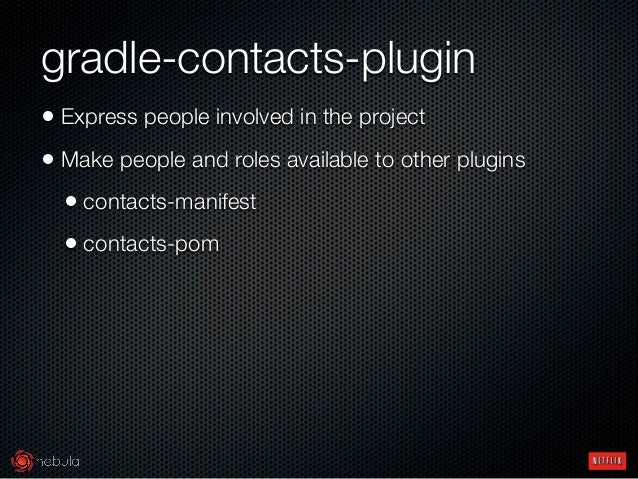 gradle-contacts-plugin • Express people involved in the project • Make people and roles available to other plugins • cont...