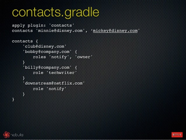 apply plugin: 'contacts'! contacts 'minnie@disney.com', 'mickey@disney.com'! ! contacts {! 'club@disney.com'! 'bobby@compa...