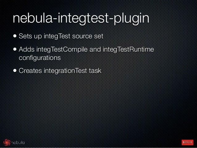 nebula-integtest-plugin • Sets up integTest source set • Adds integTestCompile and integTestRuntime configurations • Creat...