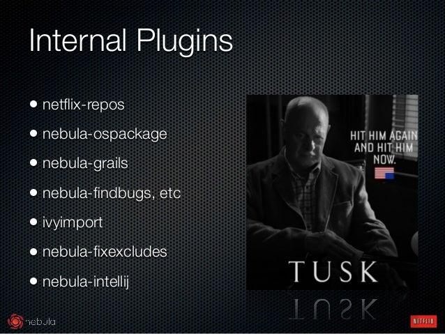 Internal Plugins • netflix-repos • nebula-ospackage • nebula-grails • nebula-findbugs, etc • ivyimport • nebula-fixexcludes •...